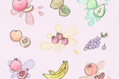 9款彩绘水果设计矢量素材