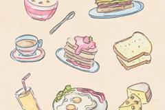 8款素色彩绘早餐食物矢量素材