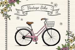 复古彩绘单车和花卉矢量素材