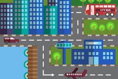 扁平化城市建筑和交通工具矢量图