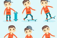 6款卡通玩滑板的男孩矢量素材