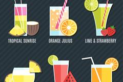6款创意夏季果汁饮品设计矢量素材