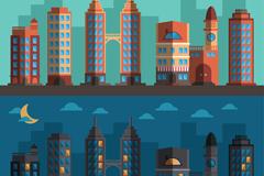 扁平化城市的白天和黑夜矢量图