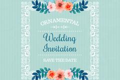 彩绘花卉框架婚礼邀请卡矢量图