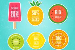 6款彩色夏季折扣水果贴纸矢量图