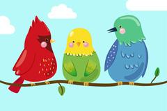 卡通树枝上的三只鸟矢量素材