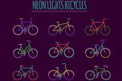 12款彩色霓虹灯单车矢量素材