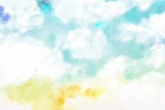 粉彩绘天空云朵背景矢量素材
