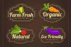 4款彩色素食标志标签矢量素材