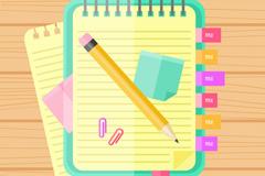 彩色记事本和笔矢量素材