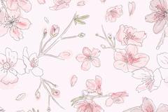 淡粉色桃花无缝背景矢量素材