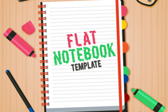扁平化记事本和文具设计桌面矢量图