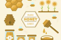11款扁平化有机蜂蜜元素矢量图