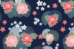 彩色牡丹花和樱花无缝背景矢量图