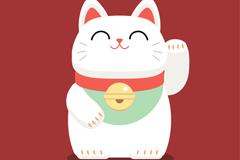 可爱白色微笑摆手招财猫矢量图