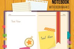 带书签的空白记事本矢量素材