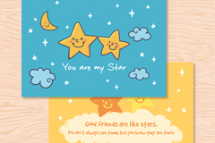 可爱星星友谊卡片矢量素材