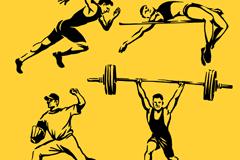4款手绘奥运会男运动员矢量素材