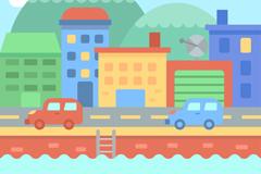 彩色江边城市风景矢量素材