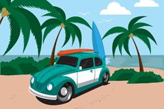 创意夏季海边冲浪度假插画矢量素材