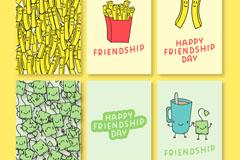 6款彩绘快餐食物友谊贺卡矢量图