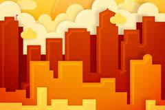 创意橙红色城市建筑风景矢量图