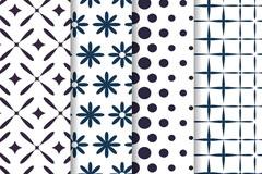 4款白色花纹图案无缝背景矢量图