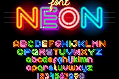36个彩色霓虹灯字母和数字矢量图