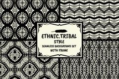 4款黑白民族部落风格图案无缝背景矢量图