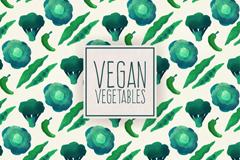 绿色素食蔬菜无缝背景矢量图