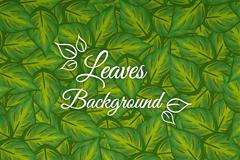 彩绘绿色树叶无缝背景矢量图
