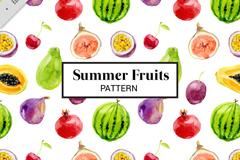 彩色夏季水果无缝背景矢量图