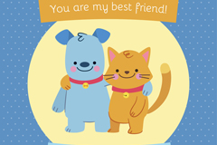 卡通猫和狗友谊日贺卡矢量素材