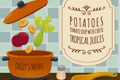 创意每日菜单插画矢量素材