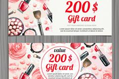 彩绘化妆品礼品卡正反面矢量素材