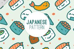 可爱日本料理无缝背景矢量素材