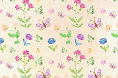 彩绘花卉和蝴蝶无缝背景矢量图