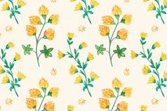 彩绘黄色花卉无缝背景矢量图