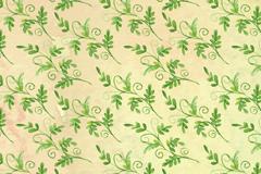 水彩绘绿色叶子无缝背景矢量图