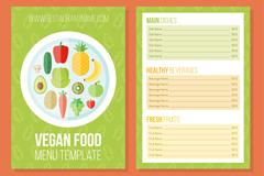 扁平化素食菜单设计矢量素材