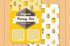 扁平化有机蜂蜜宣传单矢量图