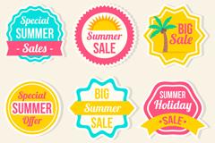 6款彩色夏季促销贴纸矢量素材