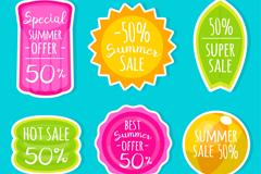 6款创意夏季促销贴纸矢量素材