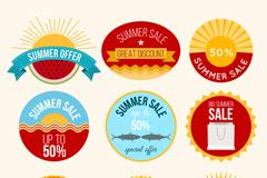 9款彩色圆形夏季促销标签矢量图