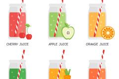 6款美味夏季果汁设计矢量素材