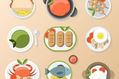 9款美味食物俯视图设计矢量素材