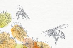两只彩绘花丛中采蜜的蜜蜂矢量素材