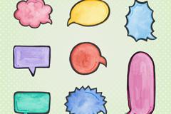 9款彩绘演讲语言气泡设计矢量素材