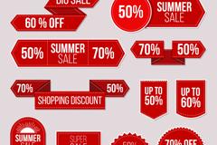 11款红色夏季促销标签矢量素材