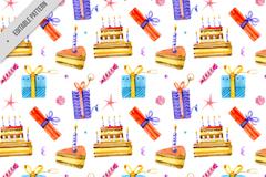 彩绘生日蛋糕和礼盒无缝背景矢量图